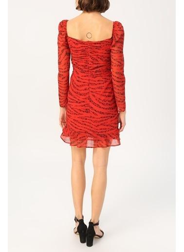 Random Kadın Büzgü Detaylı Eteği Volanlı Desenli Elbise Kırmızı